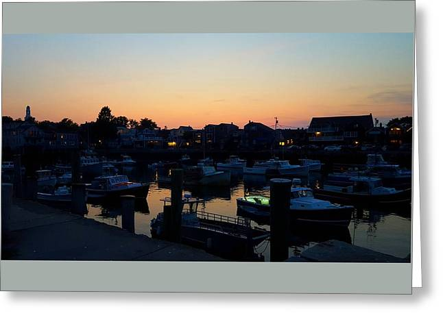 Boats In Harbor Greeting Cards - Harbor Silhouettes Greeting Card by Harriet Harding