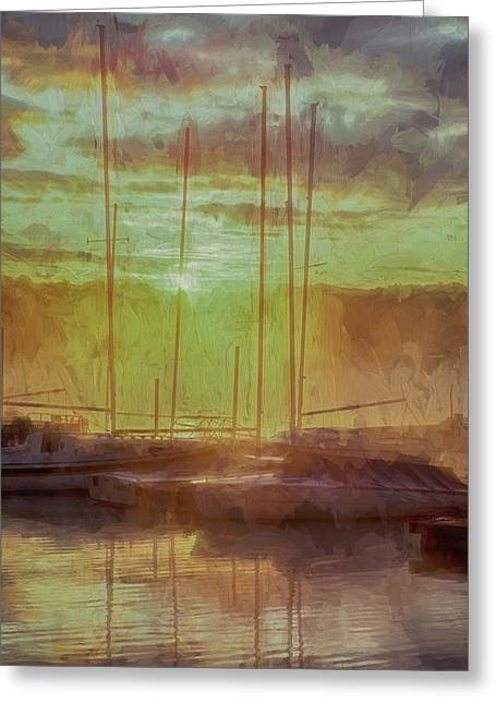 Docked Sailboats Greeting Cards - Harbor Sunrise Impression Greeting Card by Jim Simpson