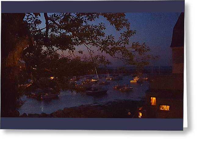 Boats In Water Greeting Cards - Harbor Twilight Greeting Card by Harriet Harding