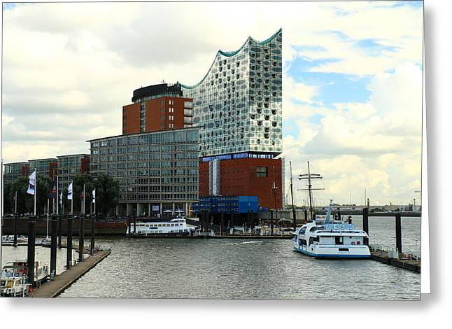Harbor View With Elbphilharmonie Greeting Card by Christiane Schulze Art And Photography