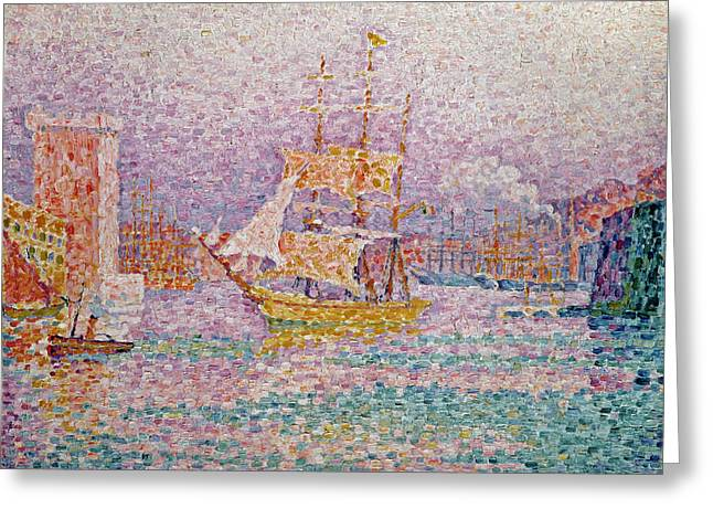 Pointillist Greeting Cards - Harbour at Marseilles Greeting Card by Paul Signac