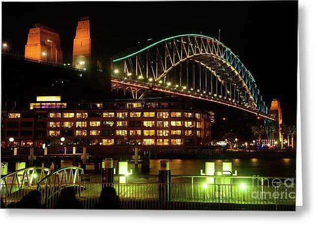 Harbour Bridge Aqua Gold Vivid Sydney 2016 By Kaye Menner Greeting Card by Kaye Menner