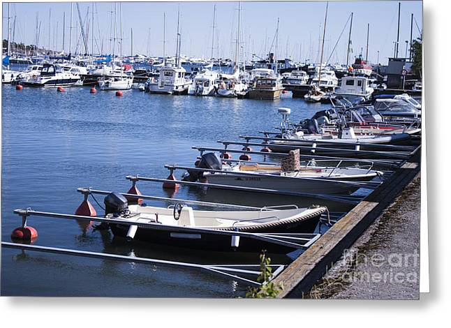 Blue Sailboats Greeting Cards - Harbour full of boats Greeting Card by Daniel Ronneberg