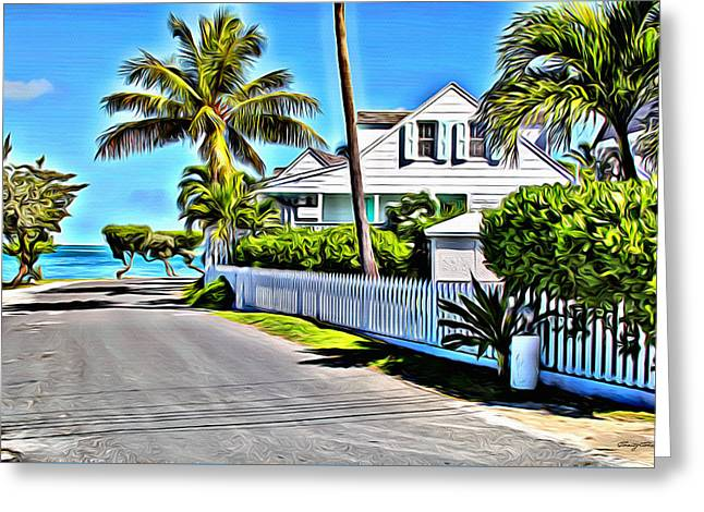 Bamboo Fence Digital Greeting Cards - Harbour Island Street Greeting Card by Anthony C Chen