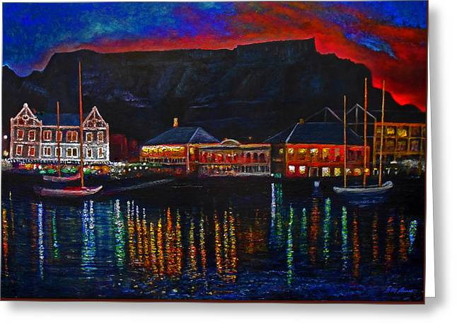Evening Lights Mixed Media Greeting Cards - Harbour Lights Greeting Card by Michael Durst