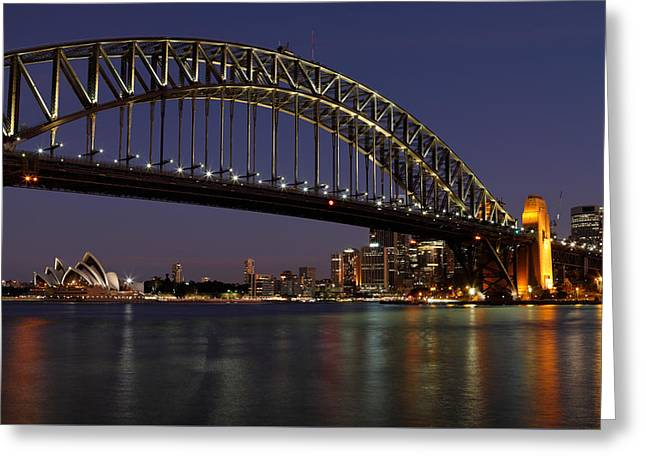 Twinkle Greeting Cards - Harbour Lights Greeting Card by Nicholas Blackwell
