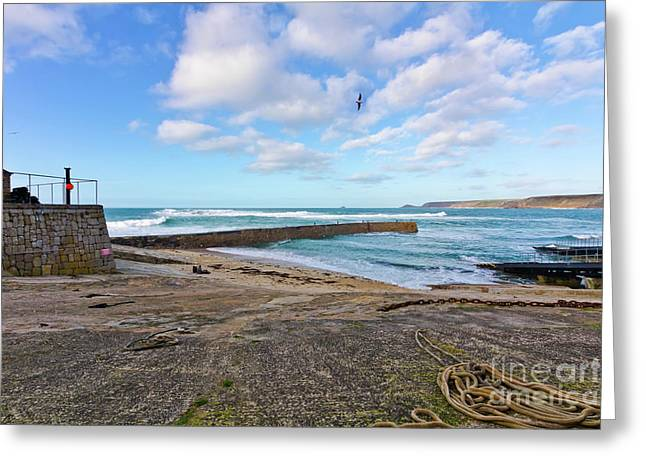 Harbour Picnic Sennen Cove Greeting Card by Terri Waters