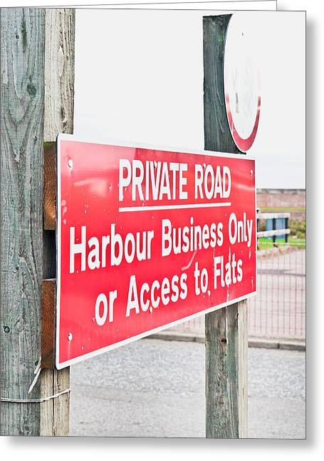 Harbour Sign Greeting Card by Tom Gowanlock
