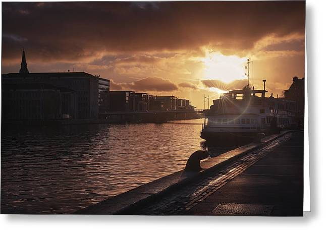 City Lights Greeting Cards - Harbour Sunset Copenhagen Greeting Card by Carol Japp