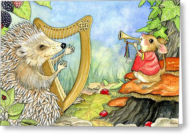 Huckleberry Paintings Greeting Cards - Harcourt hedgehog and his harp Greeting Card by Pamela Harden