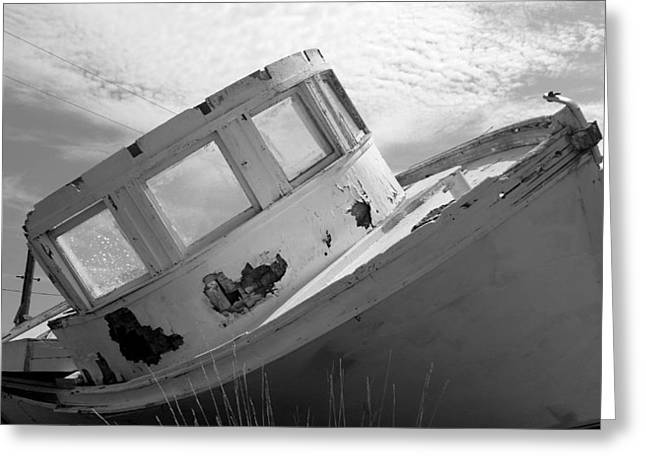 Shrimp Boat Captains Greeting Cards - Hard Aground Greeting Card by Karen Rhodes