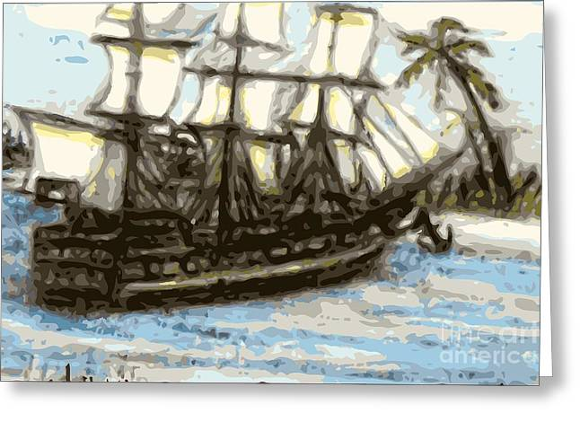 Buccaneer Greeting Cards - Hard aground sold prints available Greeting Card by Larry E Lamb