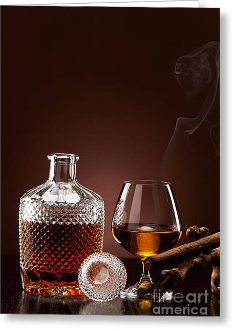 Beverage Greeting Cards - Hard alcohol and nicotine pleasure Greeting Card by Wolfgang Steiner