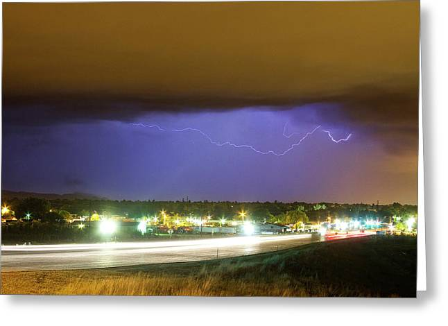 Lightning Strike Greeting Cards - Hard Rain  Lightning Thunderstorm over Loveland Colorado Greeting Card by James BO  Insogna