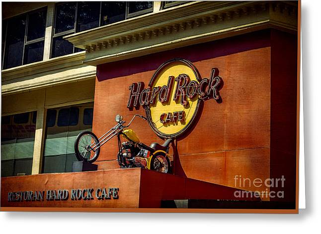 Hard Rock Cafe Greeting Card by Adrian Evans