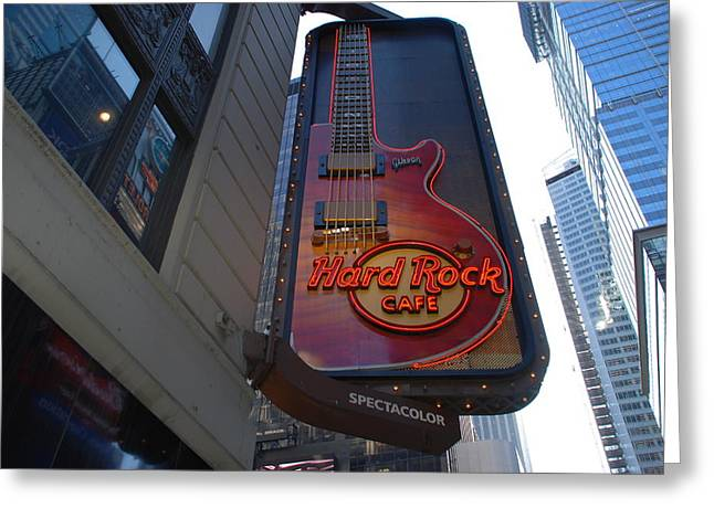 Hard Rock Cafe Building Greeting Cards - Hard Rock Cafe N Y C Greeting Card by Rob Hans