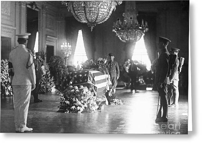 East Room Greeting Cards - Harding Funeral, 1923 Greeting Card by Granger