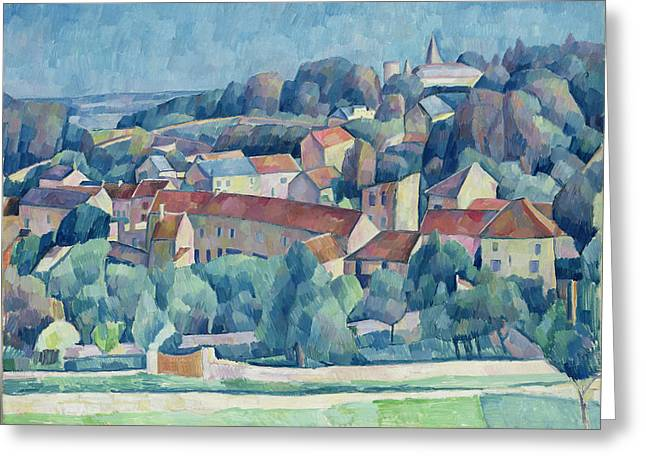 Impressionist Style Greeting Cards - Hardricourt Village and Castle Greeting Card by Walter Rosam
