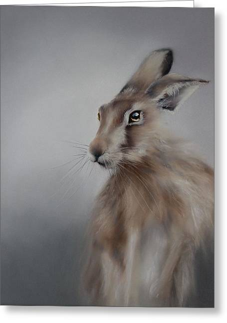 Hare Pastels Greeting Cards - Hare 2 Greeting Card by Lynn Wragg
