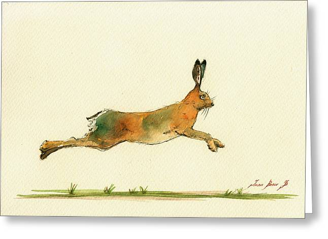 Hare Greeting Cards - Hare running watercolor painting Greeting Card by Juan  Bosco