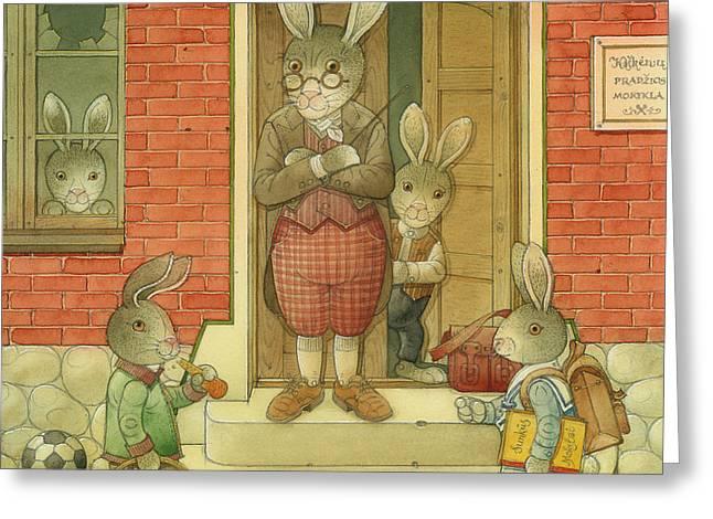 Hare School Greeting Card by Kestutis Kasparavicius