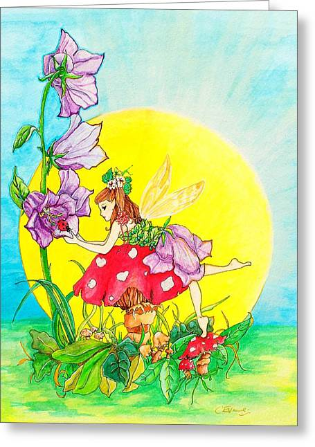 Toadstools Mixed Media Greeting Cards - Harebell Flower Fairy Greeting Card by Caroline Evans