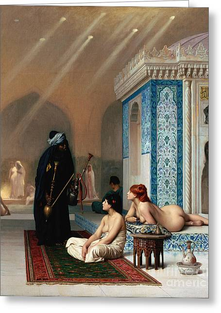 Harem Pool Greeting Card by Pg Reproductions