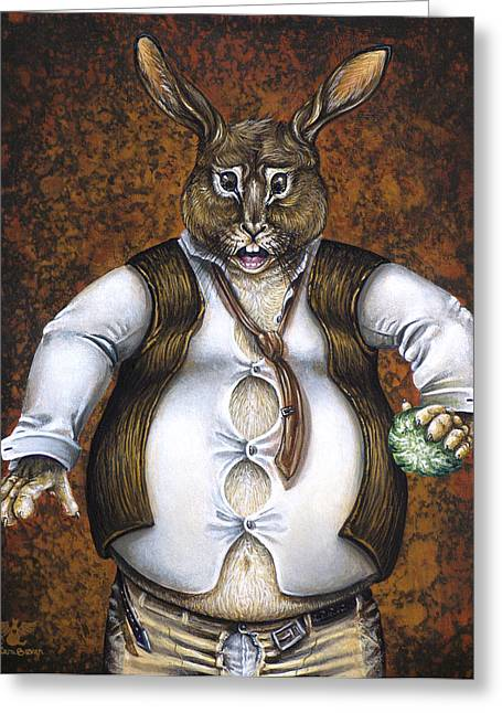 Hare Greeting Cards - Hares Temptation Greeting Card by Cara Bevan