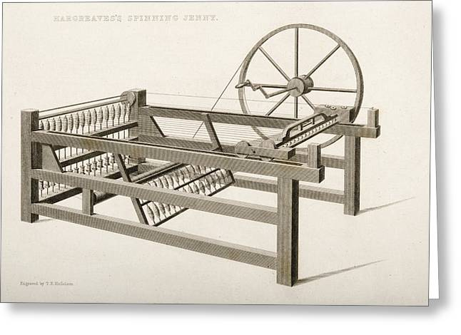 Machinery Drawings Greeting Cards - Hargreave S Spinning Jenny. Engraved By Greeting Card by Ken Welsh