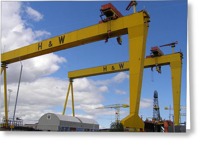 Icons Pyrography Greeting Cards - Harland and Wolff cranes Greeting Card by David Law