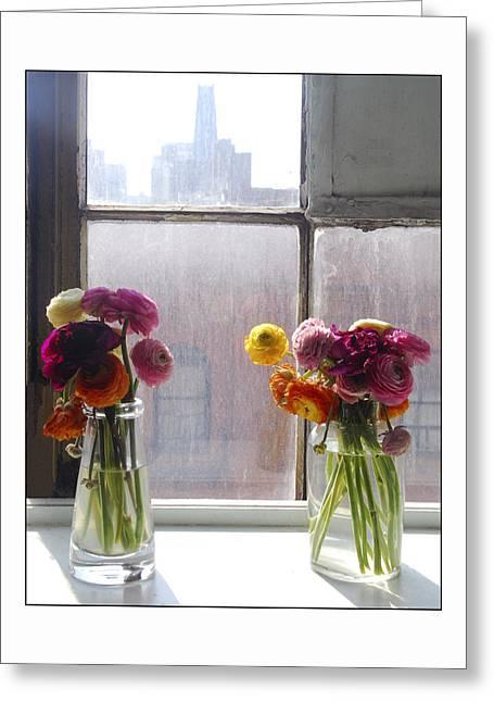 Flower Still Life Prints Greeting Cards - Harlem Flowers Greeting Card by Nancy Robinson
