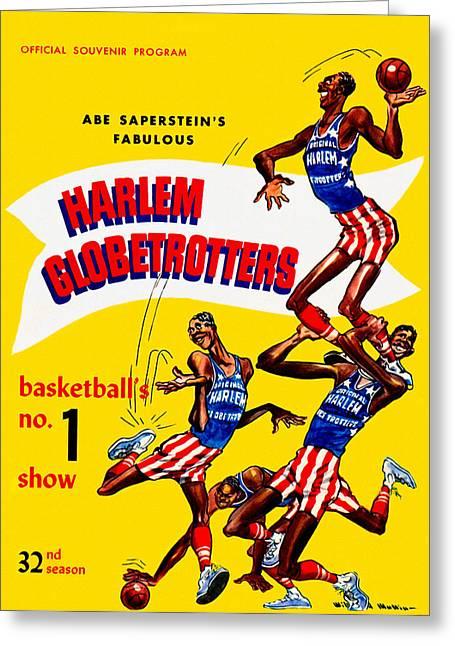 Harlem Globetrotters Greeting Cards - Harlem Globetrotters Vintage program 32nd Season Greeting Card by Big 88 Artworks