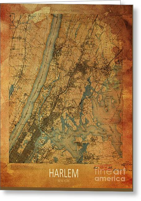 print Mixed Media Greeting Cards - Harlem, New York, 1900 Map Greeting Card by Pablo Franchi