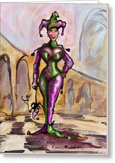 Harlequin Greeting Card by Kevin Middleton