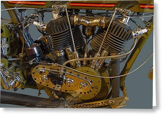 Harley 1918 Cycle Engine Greeting Card by Nick Gray