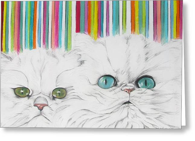 Cute Kitten Pastels Greeting Cards - Harley and Chloe Greeting Card by Michelle Hayden-Marsan
