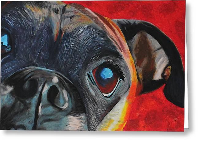 Puppies Pastels Greeting Cards - Harley Greeting Card by Ashley Huisman