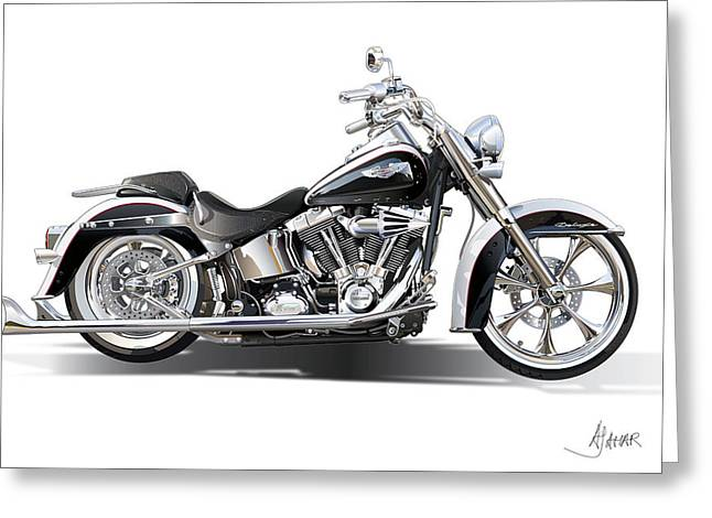 Vector Art Greeting Cards - Harley bike Greeting Card by Alain Jamar