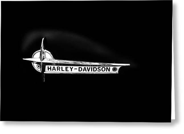 Transport Photographs Greeting Cards - Harley Black Tank Greeting Card by Mark Rogan