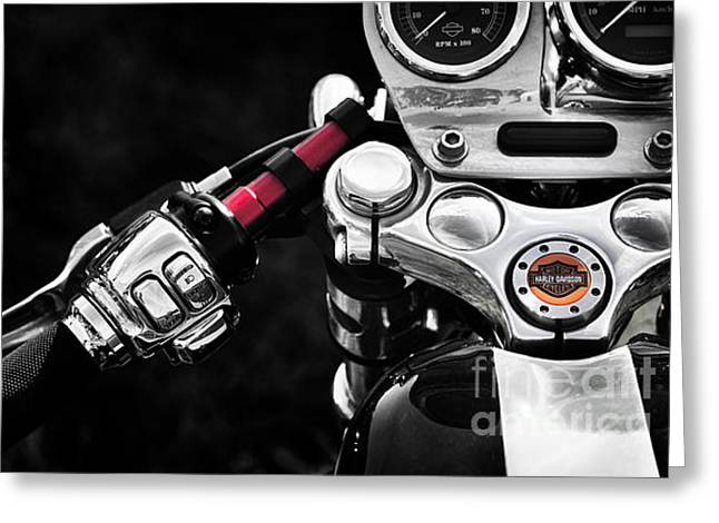 Handle Bar Greeting Cards - Harley Cafe Racer Greeting Card by Tim Gainey