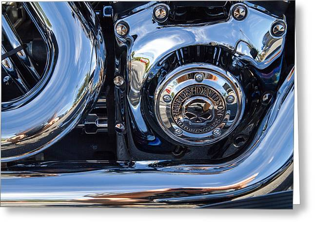 Harley Chrome Greeting Card by J Darrell Hutto