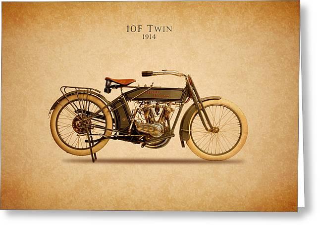 Glide Greeting Cards - Harley-Davidson 10F 1914 Greeting Card by Mark Rogan