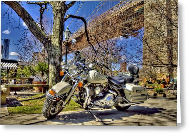 City Art Greeting Cards - Harley Davidson and Brooklyn Bridge Greeting Card by Geraldine Scull