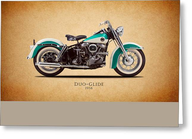 Harley Davidson Greeting Cards - Harley Davidson Duo-Glide 1958 Greeting Card by Mark Rogan