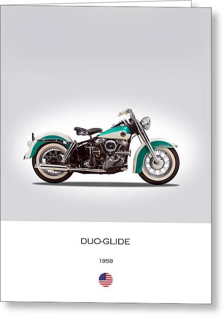Harley-davidson Duo-glide Greeting Card by Mark Rogan