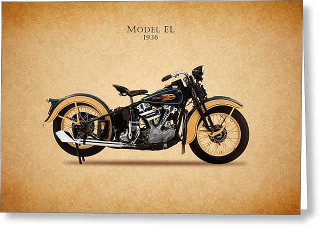 Harley Davidson Greeting Cards - Harley-Davidson EL 1936 Greeting Card by Mark Rogan