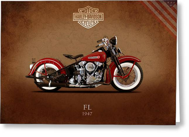 Glide Greeting Cards - Harley Davidson FL 1947 Greeting Card by Mark Rogan