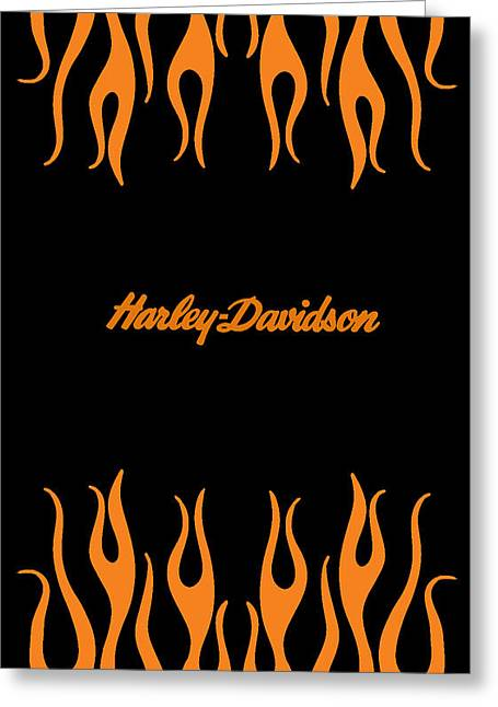 Motorcycle Greeting Cards - Harley-Davidson Flames Phone Case Greeting Card by Mark Rogan