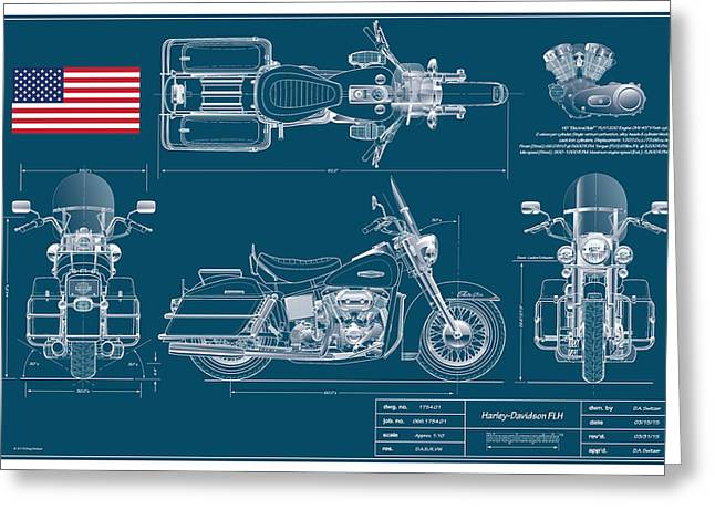 Police Special Greeting Cards - Harley Davidson FLH Classic Blueplanprint Greeting Card by Douglas Switzer