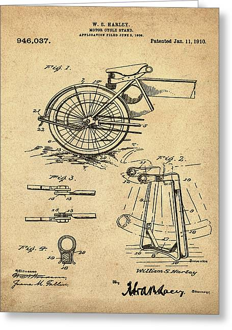 Harley Davidson Kickstand Patent 1910 In Sepia Greeting Card by Bill Cannon